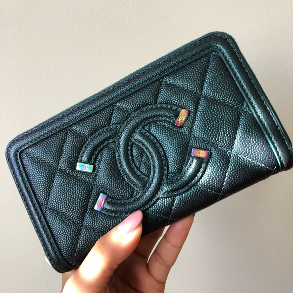 5130444cae3444 CHANEL Bags | 18b Iridescent Turquoise Filigree Wallet | Poshmark